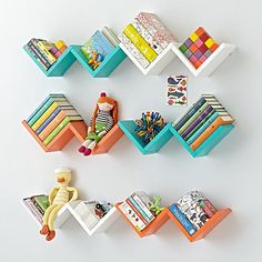 Our Zigzag Wall Shelves are a great way to store items, . - Shelf for child room - Shelves in Bedroom Creative Bookshelves, Decorating Bookshelves, Bookshelf Design, Bookshelves For Kids, Girl Bedroom Designs, Room Ideas Bedroom, Bedroom Decor, Study Room Decor, Cute Room Decor