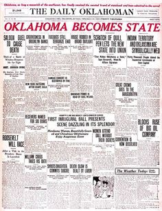 The Daily Oklahoman front page on Nov. 17, 1907. OKLAHOMA BECOMES STATE