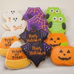 Halloween Cookies, Pumpkin, Ghost, Candy Corn - 12 Platter Size Decorated Sugar Cookies