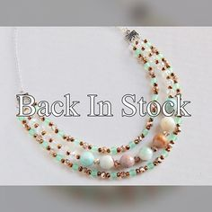 Get one of these beautiful necklaces now! They are back in stock! $22 #lajolla #lajollanecklace #gorgeous #beautiful #lovely #lovelyjewelry #threestrand #statement #statementnecklace #california #beach #beachvibes #mint #jade #sand #sandy #stones #faceted #beads #taylorsmusings #taylorsmusingsoriginal #lajollalocals #sandiegoconnection #sdlocals - posted by Taylor's Musings  https://www.instagram.com/taylorsmusings. See more post on La Jolla at http://LaJollaLocals.com