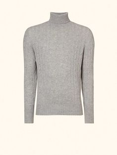 Cable Roll Neck Sweater (as seen in the SPECTRE movie trailer) in Fumo Grey - N.PEAL Luxury Cashmere