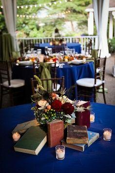 Nashville Garden Wedding | CJ's Off the Square | Navy Blue Reception Decor - Photo: Dove Wedding Photography
