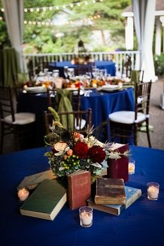 Nashville Garden Wedding | CJ's Off the Square | Navy Blue Reception Decor - Photo: Dove Wedding Photography