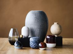 Super-egg by Piet Hein, glass vase by Holmegaard, large vase by Würtz Ceramics, small vase and sphere by Anders Arhøj, jug by Anette Friis Brahe and bonbonnieres by Ditte Fischer, Broste and Kristina Dam