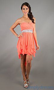 My Michelle Juniors Strapless High-Low Dress coral | My Michelle Dresses, Short Dresses, Mini Dresses - Simply Dresses