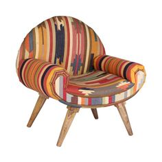 Thar Desert Arm Chair in Vintage Kilim. This is the gnarliest chair I've ever seen. Home Goods Decor, Home Decor, Upholstered Furniture, Furniture Chairs, Cool Chairs, Lounge Chairs, Chairs For Sale, Mid Century Modern Design, Eclectic Decor
