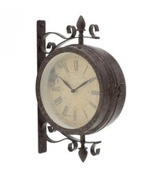 METALLIC STATION CLOCK IN ANT_BROWN COLOR 25X9X34