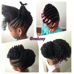 "Fall and Spring hair style because that is when we do our ""stretched hair"" hair styles. Natural Hairstyles For Kids, Natural Hair Tips, Little Girl Hairstyles, Cute Hairstyles, Braided Hairstyles, Natural Hair Styles, Natural Kids, Hairstyles 2016, African Hairstyles"