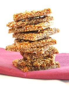 Sesame Seed Snaps. These are my new favorite snack. So simple. Just toasted sesame seeds, sugar, and honey.  They are crunchy and delicious!