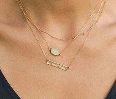Gem Slice Necklace / Gold Edged Stone on Gold by LayeredAndLong