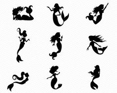 Mermaid Silhouette SVG- Cricut Explore or Silhouette Cameo- Instant Download- Mermaid PNG, eps, dxf- Vinyl cutting- cut files- Vector design