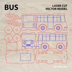 Bus & Garage wooden toys. Vector models for laser cut. Project plan. ►…