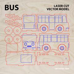 Bus & Garage wooden toys. Vector models for laser cut. Project plan. ► http://cartonus.com/bus-garage/