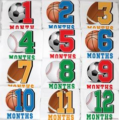Perfect baby shower gift! Sports Baby Monthly Onesie Se - 12 Months by peanutandtheowl, $68.00