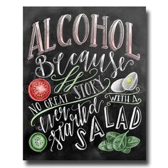 Alcohol Sign Wedding Sign Chalkboard Art Chalk Art by TheWhiteLime