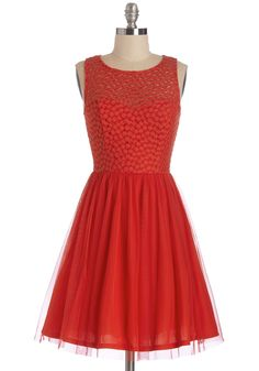 Scarlet Celebration Dress. The party tonight is in honor of your paramours promotion, but this beautiful red dress you wear for the occasion is reason enough to celebrate! #red #modcloth