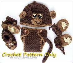 Monkey Hat Diaper Cover Booties Mitts for por YarnovationsShop