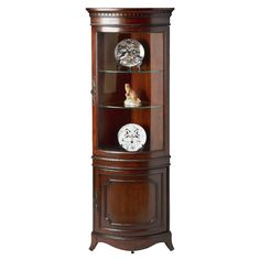 Beaumont Corner Curio Cabinet at Joss & Main Corner China Cabinets, Curio Cabinets, Kitchen Cabinets, Corner Curio, Crockery Cabinet, Glass Shelves Kitchen, Oriental Furniture, Curved Glass, Home Decor Furniture