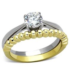 Two Tone Stainless Steel CZ Solitaire Wedding Ring Set | Hope Chest Jewelry
