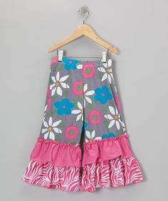 Take a look at this Gray & Pink Garden Mix Ruffle Pants - Infant, Toddler & Girls by Corky's Kids on #zulily today!