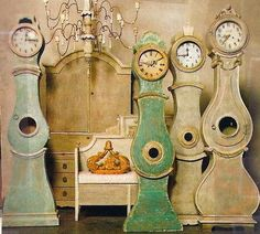 Mora clocks were made back in the late 18th and 19th century in Sweden as gifts to the bride on their wedding day.  The farmers during the winter had limited work due to the cold, so they would hand make these gorgeous clocks for a little extra income.  My favorite clock ever!