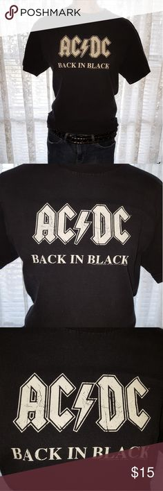 """Vintage AC/DC Back In Black T-Shirt This is a super cool vintage AC/DC Back In Black t-shirt. If you are into vintage clothing like me you know the importance of the not new look. This is PERFECTLY faded and worn in! No stains or tears. I do not know how old this shirt actually is but I have had it twenty years. LOVE! 😎 Measurments taken lying flat: Shoulder to shoulder: 19"""" Armpit to armpit: 18 1/2"""" Length: 26"""" Smoke free/pet free home Alstyle Apparel and Activewear Tops Tees - Short…"""