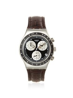 28% OFF Swatch Men's YCS572 Brown/Black Leather Watch