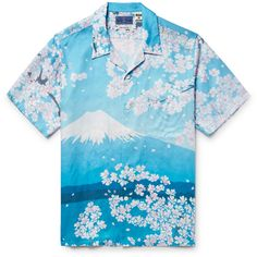 Blue Blue Japan Camp-Collar Printed Woven Shirt ($445) ❤ liked on Polyvore featuring men's fashion, men's clothing, men's shirts, men's casual shirts, mens vintage shirts, mens flower shirt, mens graphic t shirts and mens woven shirts