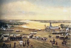 "(""Emigrants Crossing the Missouri River at Westport Landing"", by William Henry Jackson).  Jackson (1843-1942) painted this rendition of Westport Landing in 1937 at the age of 94.  Westport Landing in Kansas City is where boats, ladened with goods, docked.  The supplies were then taken to the Westport Trading Post, three miles south of the river, the last place to get provisions before travelers went into Kansas Territory."