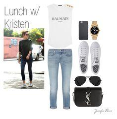 """Lunch with Kristen."" by jenniferfls on Polyvore featuring moda, rag & bone, adidas, Balmain, Rolex, Ray-Ban y Yves Saint Laurent"