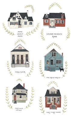 House Portraits, by Rebekka Seale Building Illustration, House Illustration, Painting Inspiration, Art Inspo, Illustration Inspiration, 7 Arts, Buch Design, House Drawing, House Sketch