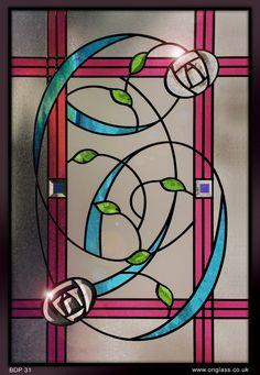 www.onglass.co.uk   Rennie Mackintosh dichroic bevel glass window   Onglass.co.uk