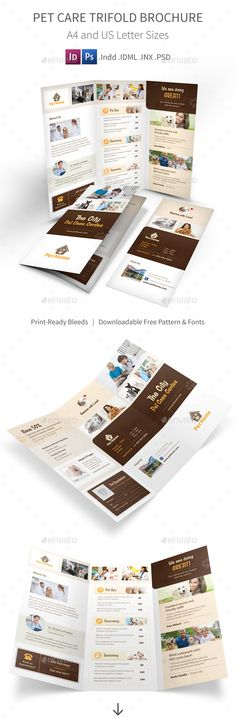 Animal Shelter  Pet Adoption Tri Fold Brochure Template By