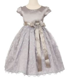 Look at this Cinderella Couture Silver Floral Cap-Sleeve Dress - Infant, Toddler & Girls on today! Toddler Girl Style, Toddler Girl Dresses, Toddler Girls, Infant Toddler, Frocks For Girls, Kids Frocks, Baby Girl Dress Patterns, Baby Dress, Skirt Patterns