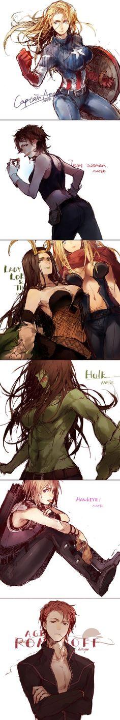 Gender-bent Avengers - 9GAG
