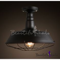 Wrought Iron Wire Cage Black Small Semi Flush  Mount Ceiling Light