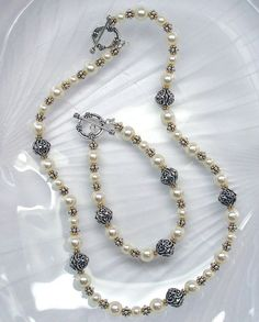 Handcrafted Beaded Jewelry, Swarovski Crystal Jewelry Set, Two Tone Crystal Pearl Jewelry