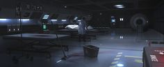 Quite a bit larger than I picture the Aurora's hospital to be, and the beds are different (no pod covers), but this pic captures the basic layout - beds along wall.... (Medical Bay by JamesLedgerConcepts.deviantart.com on @deviantART)