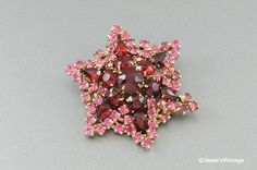 Vintage Snowflake Brooch Pin Ruby Red & Pink by JessesVintage,  41.99