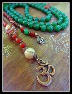 Carnelian, Aventuring, and Mother of Pearl Gemstones with Agate dZi Bead 110 Bead Tibetan Buddhist Mala for Meditation and Prayer