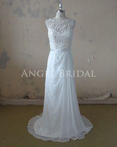 Chiffon Wedding Dress,Lace Wedding Dress,A-Line Wedding Dress, Wedding Gown With Detachable Skirt on Etsy, $285.78 CAD