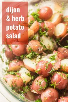 This scrumptious mayo-free potato salad is made with tender red potatoes and fresh herbs dressed in a refreshing Dijon vinaigrette. Perfect for cookouts, this easy side dish comes together in a flash and is full of flavor! Naturally vegan and gluten-free! Cookout Side Dishes, Side Dishes Easy, Side Dish Recipes, Cookout Food, Vegetarian Side Dishes, Vegetable Side Dishes, Vegetarian Recipes, Veg Recipes, Potato Recipes