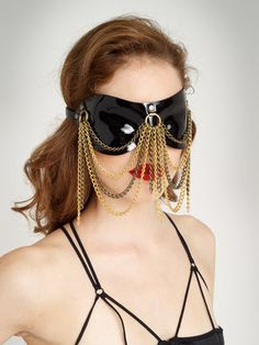 Paul Seville Moulded Leather Blindfold with Chain Drape