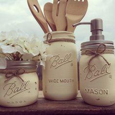 Set of 3 Hand-Painted Mason Jar Kitchen Set, Mason Jar Soap Dispenser, Kitchen Decor, Bridal Shower Gift, Wedding Gift, Housewarming Gift