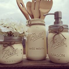 Set of 3 Hand-Painted Mason Jar Kitchen Set, Mason Jar Soap Dispenser, Kitchen Decor, Bridal Shower Gift, Wedding Gift, Housewarming Gift