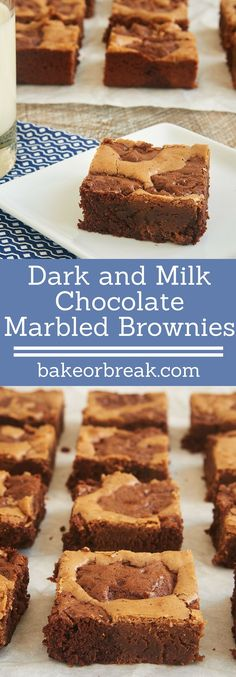Too tough to decide between dark and milk chocolate? Have both with these fantastic Dark and Milk Chocolate Marbled Brownies! - Bake or Break ~ http://www.bakeorbreak.com