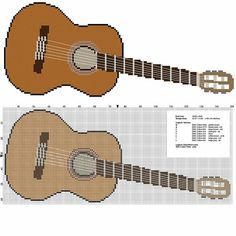 A guitar musical instrument free cross stitch pattern