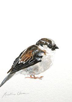 Watercolor Painting Bird Painting Original 6x9 by WoodPigeon, $25.00