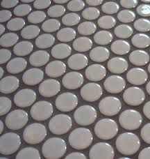 Image result for white penny tile with grey grout