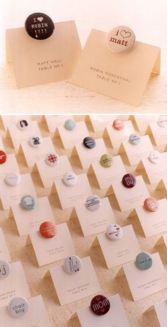 Buttons for seating chart cards... these are individually designed for each guest - really cool favor idea. And an excuse to buy a button maker..